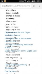 The Digital Scot mobile site occurred some problems