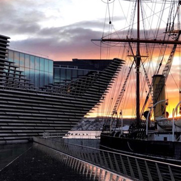 V&A Dundee building at sunset