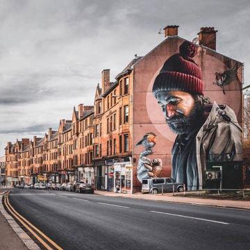 St Mungo mural on Glasgow High Street